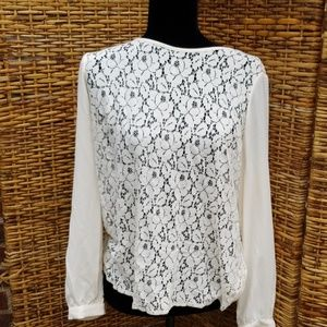 NWT Sheer BR petite lace top.L